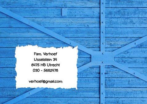 Uitnodiging ballon 5 blauw hout  2