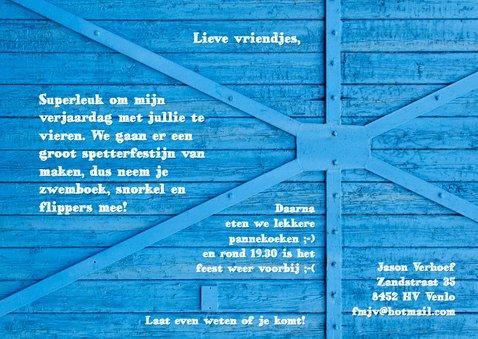 Uitnodiging blauw hout kind - OT 3