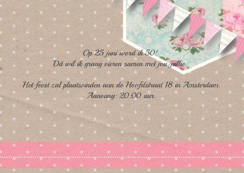 Uitnodiging bloemen ster vlaggetjes vrouw 2