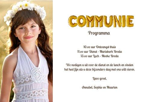 Uitnodiging Communie Ballonnen goud 3