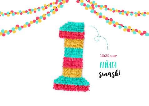Uitnodiging eerste verjaardag piñata party 2