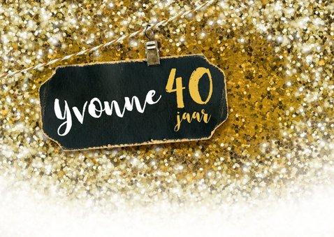 Uitnodiging feestje felicitatie glitter goud 2
