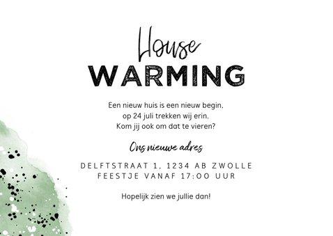 Uitnodiging housewarming hip met waterverf en spetters 3