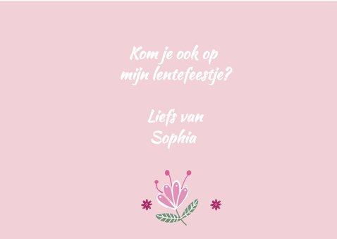 Uitnodiging lentefeest roze foto 3