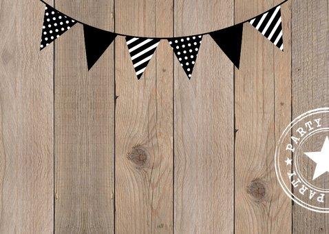 Uitnodiging verjaardag fotocollage houtlook slinger 2