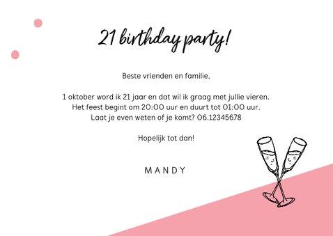 Uitnodiging verjaardag vrouw hip let's party met foto 3