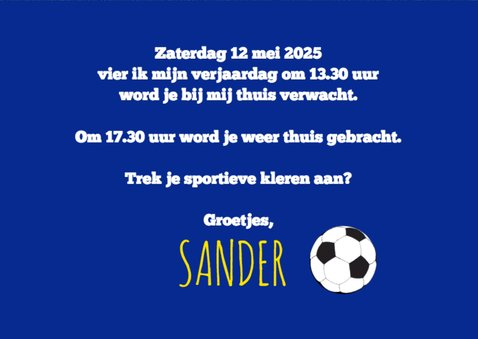 Uitnodigingskaartje voetbalfeestje 3