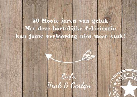 Verjaardagskaart foto houtprint 3