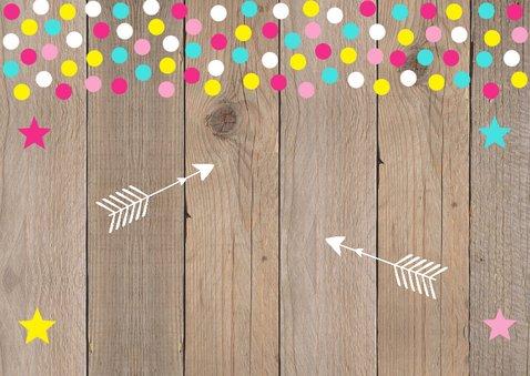 Verjaardagskaart foto meisje confetti hout 2