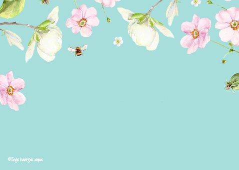Verjaardagskaart Twee vogels bloemen 2