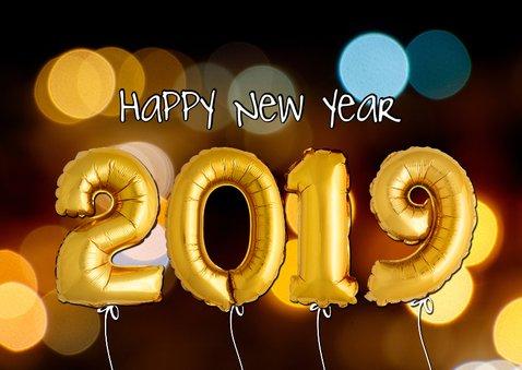 Vrolijke kerstkaart ballonnen goud 2019 2