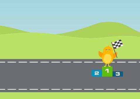 Vrolijke verjaardagskaart voor jongen met Formule 1 raceauto 3