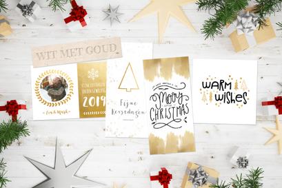 Kerstkaarten trend wit met goud