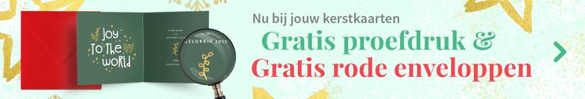 Gratis proefdruk en gratis rode enveloppen bij jouw kerstkaarten