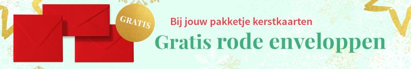 Kerstkaart met rode enveloppen en gratis proefdruk